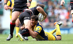 Wynand Olivier of Worcester Warriors tackles Marcelo Bosch of Saracens - Mandatory by-line: Robbie Stephenson/JMP - 03/09/2016 - RUGBY - Twickenham - London, England - Saracens v Worcester Warriors - Aviva Premiership London Double Header