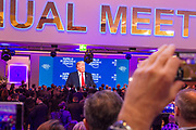 Donald J. Trump President of the United States of America Office of the President of the<br /> United States<br /> USA addresses the Annual Meeting 2018 of the World Economic Forum in Davos, January 26, 2018.<br /> Copyright by World Economic Forum / Greg Beadle