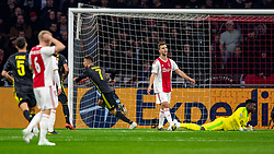 10-04-2019 NED: Champions League AFC Ajax - Juventus,  Amsterdam<br /> Round of 8, 1st leg / Ajax plays the first match 1-1 against Juventus during the UEFA Champions League first leg quarter-final football match / Cristiano Ronaldo #7 of Juventus scores the 0-1 in the last minute first half. Joel Veltman #3 of Ajax, Andre Onana #24 of Ajax no change