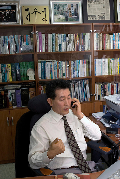South Korean missionary Reverend Chun Ki-won, creator of the Durihana evangelical mission, in his office in Seoul. He claims he helped more than 600 North Koreans to flee their country. In 2001 he was arrested in China and charged with assisting North Koreans defectors. He stayed almost 10 months in jail.