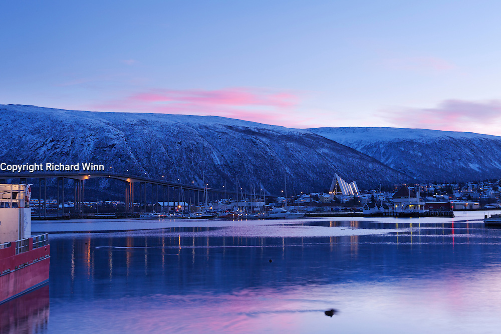 Morning view of Tromsbrua or the Tromsø bridge, leading to the Arctic Cathedral or Tromsdalen Church (Ishavskatedralen).