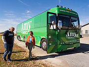 18 OCTOBER 2019 - CRAWFORDSVILLE, IOWA: US Senator AMY KLOBUCHAR (D-MN) arrives at W2 Fuel, a biofuels refinery that makes biodiesel from soybeans. W2 Fuel closed about a month ago because of low demand for biofuels. Sen. Klobuchar is on barnstorming bus tour of southeast Iowa this weekend. She is campaigning to be the Democratic nominee for the US Presidency. In addition to campaign meet and greet events, she stopped at a biofuels plant to learn about the difficulties farmers and biofuels producers face because of the trade war with China. Iowa holds the first selection event of the Presidential election cycle. The Iowa caucuses are Feb. 3, 2020.         PHOTO BY JACK KURTZ