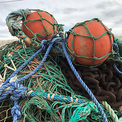 detail of boatyard nets and buoys found on a boatyard