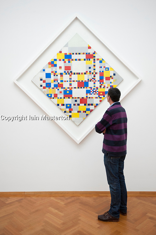 Painting Victory Boogie Woogie by Paul Mondriaan at the Gemeentemuseum in The Hague, Den Haag,  Netherlands