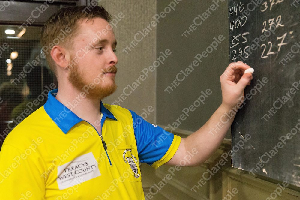 Anthony Kenny from Kilrush taking part in the INDO Darts competition held in Treacy's West County over the weekend