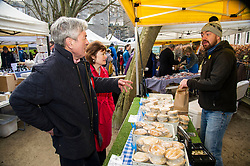 Pictured: Iain Gray and Sarah Boyack stopped at the Pie Not stall and chatted to Steven Lindsay abiut how sales were going.<br /> <br /> The former Scottish Labour leader Iain Gray joined colleague Sarah Boyack activists and supporters at a street stall at Stockbridge Market. <br /> Ger Harley | EEm 10 April 2016