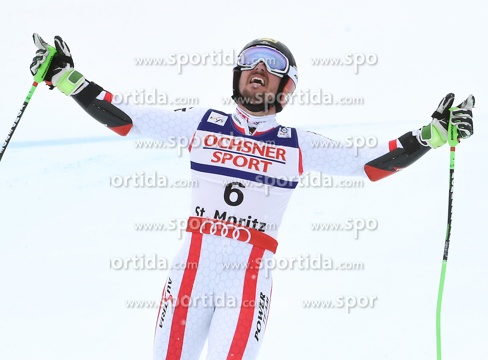 17.02.2017, St. Moritz, SUI, FIS Weltmeisterschaften Ski Alpin, St. Moritz 2017, Riesenslalom, Herren, 2. Lauf, im Bild Marcel Hirscher (AUT Herren Riesenslalom Weltmeister und Goldmedaille) // men's Giant Slalom world Champion and Gold medalist Marcel Hirscher of Austria reacts after his 2nd run of men's Giant Slalom of the FIS Ski World Championships 2017. St. Moritz, Switzerland on 2017/02/17. EXPA Pictures © 2017, PhotoCredit: EXPA/ Erich Spiess