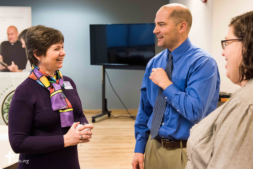 From left, Shelley Moeller, LWML vice-president of Gospel Outreach, talks to Mark Kiessling, LCMS Youth Ministry director, and Julianna Shults, program manager of the Lutheran Young Adult Corps,, at the LCMS International Center on Wednesday, Jan. 6,  2016 jn Kirkwood, Mo. LCMS Communications/Frank Kohn