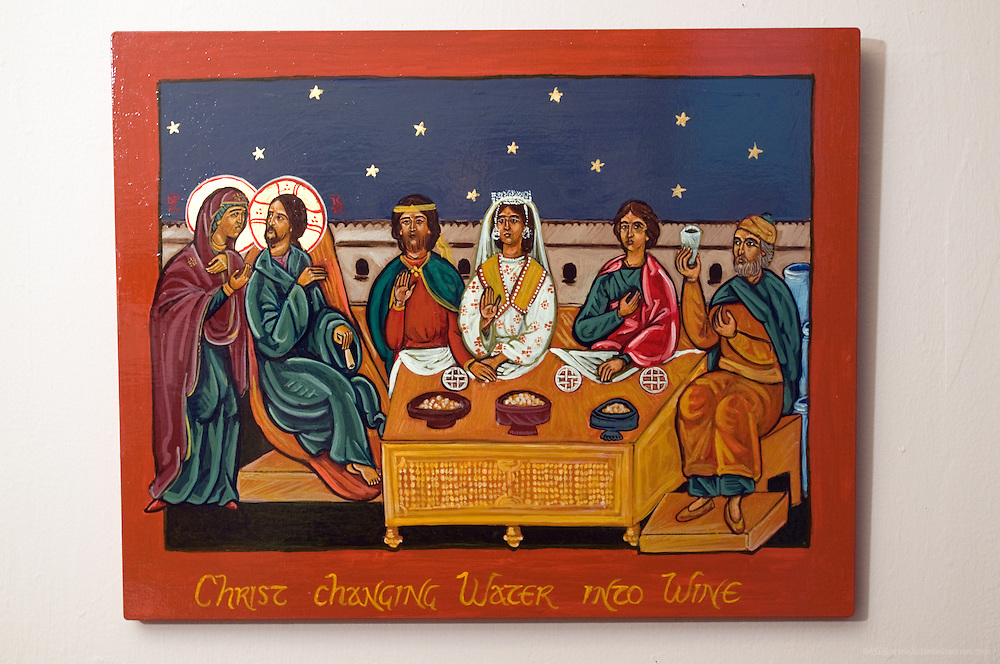 "A traditional icon in acrylic on panel with faux gold, ""The Wedding at Cana,"" 2005, by Sister Glynis Mary McManamon, hangs in her gallery and studio, Shepherding Images, at 1910 Bardstown Rd., photographed Wednesday, Nov. 11, 2009 in Louisville, Ky. (Photo by Brian Bohannon)"