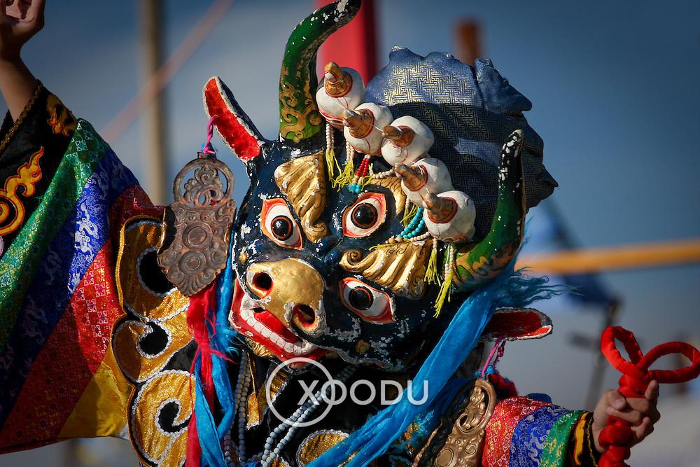 Costumed Mongolian Tsam mask dance (, Mongolia - Aug. 2008) (Image ID: 080830-1148252a)