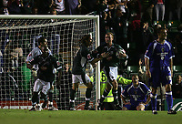 Photo: Lee Earle.<br /> Plymouth Argyle v Cardiff City. Coca Cola Championship. 12/09/2006. Argyle players celebrate after Cardiff's Darren Purse (2ndR) scored an own goal.