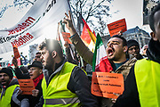 Frankfurt am Main | 16.12.2017<br /> <br /> On Saturday, December 16, 2017 about 1000 men, women and children take part in a demonstration march against the declaration of U.S. president Donald Trump to recognize Jerusalem as the capital of Israel and to relocate the U.S. Embassy in Israel from Tel Aviv to Jerusalem. The demonstration was registered under the slogan &quot;Demo f&uuml;r Jerusalem - Jerusalem/Alkudus ist die Hauptstadt Pal&auml;stinas&quot; (Demo for Jerusalem - Alkudus is the capital of Palestine).<br /> Here: Protesters are shouting slogans.<br /> <br /> photo &copy; peter-juelich.com<br /> <br /> - Foto honorarpflichtig<br /> - No Model Release<br /> - No Property Release
