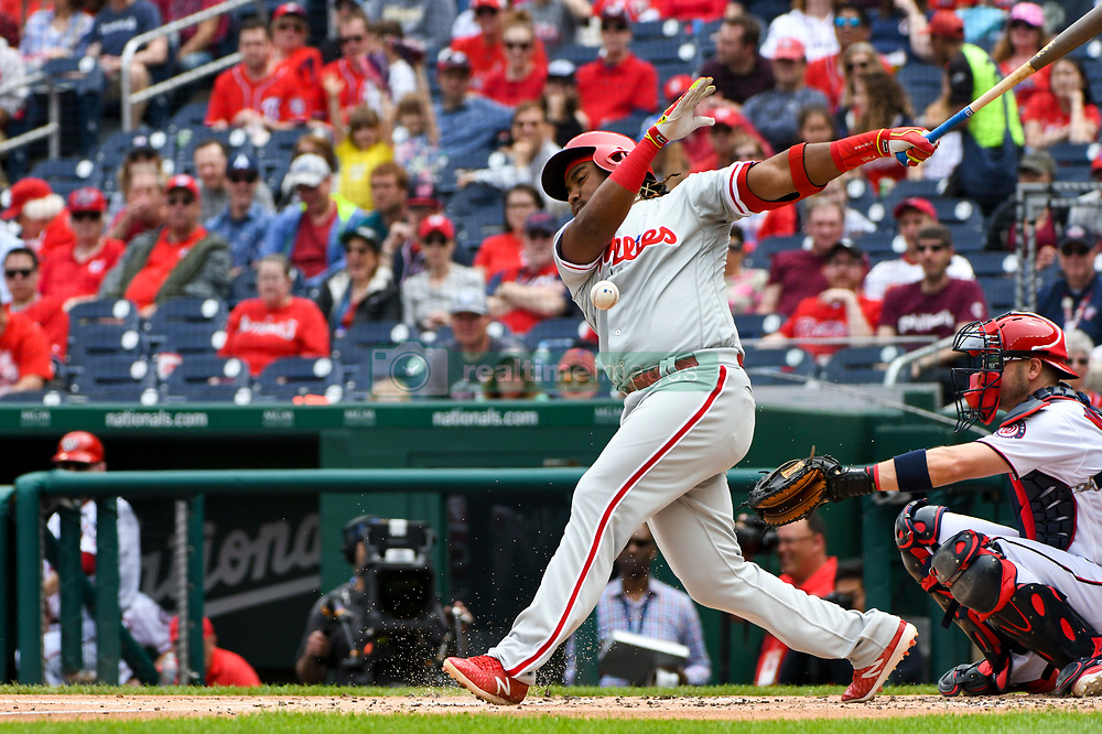 May 6, 2018 - Washington, DC, U.S. - WASHINGTON, DC - MAY 06:  Philadelphia Phillies third baseman Maikel Franco (7) fouls a ball off during the game between the Philadelphia Phillies and the Washington Nationals on May 6, 2018, at Nationals Park, in Washington D.C.  The Washington Nationals defeated the Philadelphia Phillies, 5-4.  (Photo by Mark Goldman/Icon Sportswire) (Credit Image: © Mark Goldman/Icon SMI via ZUMA Press)