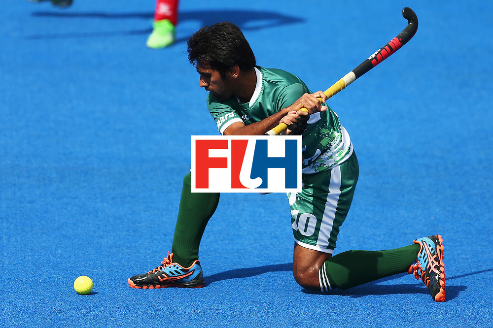 LONDON, ENGLAND - JUNE 25: Ali Shan of Pakistan shoots during the 7th/8th place match between Pakistan and China on day nine of the Hero Hockey World League Semi-Final at Lee Valley Hockey and Tennis Centre on June 25, 2017 in London, England.  (Photo by Steve Bardens/Getty Images)