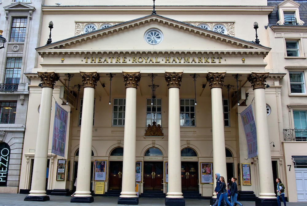 Theatre Royal Haymarket in London, England<br /> John Potter built the Hay Market theatre in 1720 just as the West End theatre district was beginning to emerge among the squalor on Haymarket street.  The Little Theatre in the Hay struggled until 1729 but then was closed in 1737 for political censorship. The playhouse reopened in 1741. When Samuel Foote acquired a Royal Patent from King George III in 1767, it was renamed Theatre Royal Haymarket. The current structure designed by John Nash was finished in 1821. TRH has a reputation for staging classic plays and new productions.