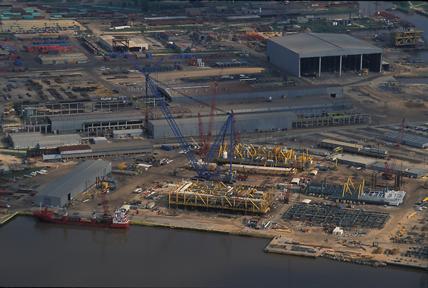 Aerial view of a construction project at the Port of Houston