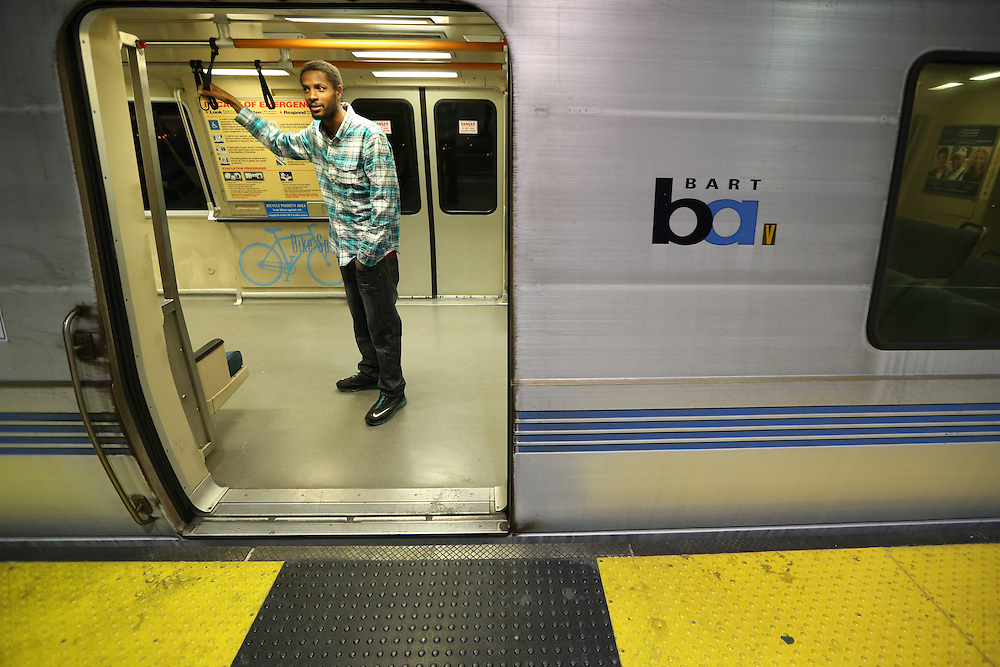 Charles Floyd waits on a Bay Area Rapid Transit (BART) train as it prepares to make a final trip from Dublin/Pleasanton Station to Bay Fair Station less than an hour after the midnight strike deadline passed with no resolution.