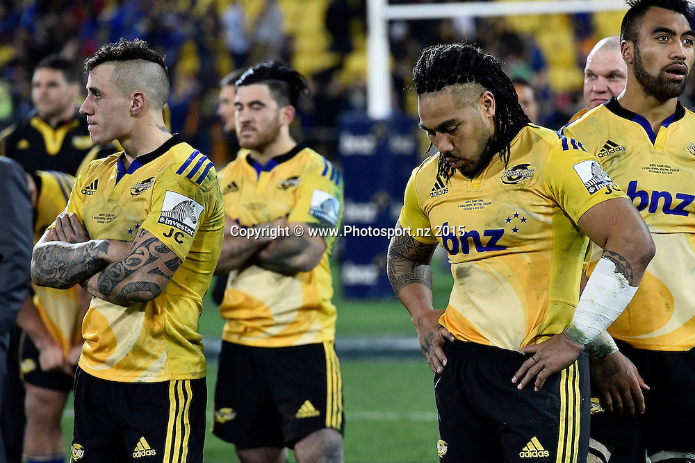 Ma'a Nonu (R with team mate TJ Perenara of the Hurricanes stand dejected after their loss during the Super Rugby final rugby match between the Hurricanes and Highlanders at the Westpac Stadium in Wellington on Saturday the 4th of July 2015. Copyright photo by Marty Melville / www.Photosport.nz