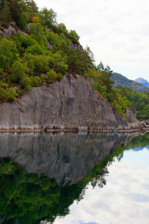Europe, Norway, Lysefjord. Reflective Landscape of Lysefjord.