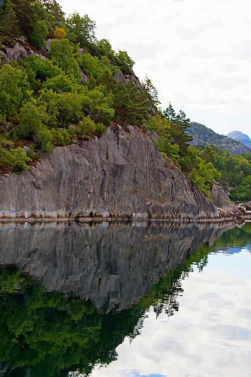 Europe, Norway, Lysefjord. Reflective Landscape of Lysefjord.