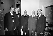 Annual General meeting of the Irish Rugby Football Union at the Shelbourne Hotel, Dublin. David St. John McCormick, President Munster Branch; D. Dineen, Committee; M. Kelly, Committee; R. Magrath, Senior Past President I.R.F.U.; and D.J. Moloney, Committee.<br /> 25.06.1965