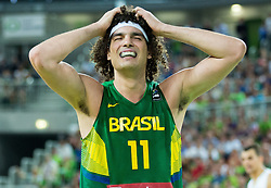 Anderson Varejao of Brasil reacts during friendly basketball match between National Teams of Slovenia and Brasil at Day 2 of Telemach Tournament on August 22, 2014 in Arena Stozice, Ljubljana, Slovenia. Photo by Vid Ponikvar / Sportida