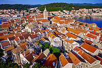 Croatie, Dalmatie, côte dalmate, île de Korcula, ville de Korcula // Croatia, Dalmatia, Korcula island, Korcula city
