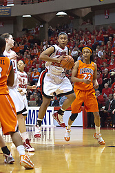 28 March 2010: Shala Jackson gets a rebound. The Redbirds of Illinois State squeak past the Illini of Illinois 53-51 in the 4th round of the 2010 Women's National Invitational Tournament (WNIT) on Doug Collins Court inside Redbird Arena at Normal Illinois.