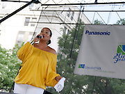 Monique Bingham performs during the 10th Annual Liberty State Park Music Festival in Newark, New Jersey on July 25, 2015.