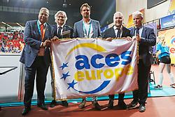 20170617 NED: FIVB Volleybal World League 2017 The Netherlands - Slovakia: Den Haag <br />Ceremony Bidbook ACES delegation, Rabin Baldewsing, Gian Fransesco Lupatelli, Reinder Nummerdor, Hugo Alonso, Andre de Jeu<br />&copy;2017-FotoHoogendoorn.nl / Pim Waslander