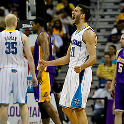 April 9, 2012; New Orleans, LA, USA; New Orleans Hornets point guard Greivis Vasquez (21) reacts during the third quarter of a game against the Los Angeles Lakers at the New Orleans Arena. The Lakers defeated the Hornets 93-91. Mandatory Credit: Derick E. Hingle-US PRESSWIRE