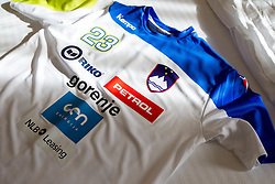 Jersey of Uros Zorman of Slovenia during visit in the rooms of Slovenia Men Handball team during 5th day of 10th EHF European Handball Championship Serbia 2012, on January 19, 2012 in Hotel Srbija, Vrsac, Serbia.  (Photo By Vid Ponikvar / Sportida.com)