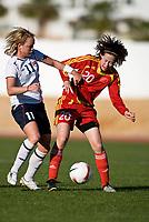 Leni L. Kaurin, Tong Zhang. Norway - China. Algarve Cup, Albufeira, Portugal 7-3-2008. Photo: Jussi Eskola