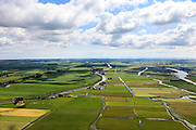 Nederland, Noord-Holland, Gemeente Wormerland, 14-06-2012; Polder Wormer, Jisp en Nek. De onregelmatige verkaveling in het gebied is het resultaat van veenontginning en vormt een  contra's met de geometrische vlakverdeling van de droogmakerij de Beemster (links). Purmerend en IJsselmeer aan de horizon..Polder in provincie North Holland (above Amsterdam) with villages. The division in plots in the area is the result of peat extraction and forms a contrast with the geometrical division of polder Beemster left..luchtfoto (toeslag), aerial photo (additional fee required);.copyright foto/photo Siebe Swart