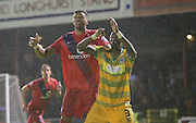 Vadaine Oliver & Nathan Smith during the Sky Bet League 2 match between York City and Yeovil Town at Bootham Crescent, York, England on 18 August 2015. Photo by Simon Davies.