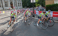 The Youth Girls Grand Prix race turns onto Horseguards Road at Prudential RideLondon, the world&rsquo;s greatest festival of cycling, involving 70,000+ cyclists &ndash; from Olympic champions to a free family fun ride - riding in five events over closed roads in London and Surrey over the weekend of 9th and 10th August. <br /> <br /> Photo: David Ashdown for Prudential RideLondon<br /> <br /> Saturday 9th August 2014<br /> <br /> See www.PrudentialRideLondon.co.uk for more.<br /> <br /> For further information: Penny Dain 07799 170433<br /> pennyd@ridelondon.co.uk