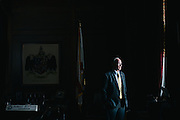 MONTGOMERY, AL – JANUARY 5, 2016: Governor Robert Bentley of Alabama stands in the governor's wing of the capitol building. In December of 2015, Bentley announced a plan to use leftover grant money from the 2010 BP oil spill to rehabilitate the Governor's Coastal Mansion – a beach house developed in the 1960s with the intent of attracting economic growth to the Gulf Shores area. Critics question the propriety of using the remaining oil spill money to renovate the property, but Bentley contends it is in the state's interest to see the mansion restored and functioning as intended. CREDIT: Bob Miller for The New York Times