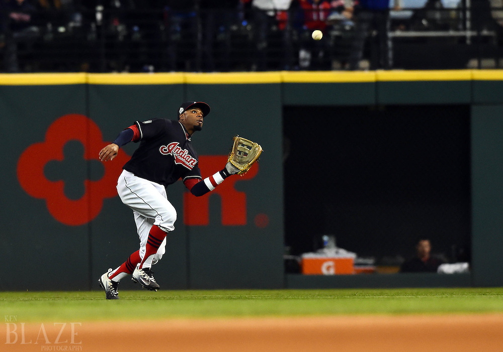 Oct 25, 2016; Cleveland, OH, USA; Cleveland Indians center fielder Rajai Davis catches a fly ball hit by Chicago Cubs pinch hitter Willson Contreras (not pictured) in the 7th inning in game one of the 2016 World Series at Progressive Field. Mandatory Credit: Ken Blaze-USA TODAY Sports