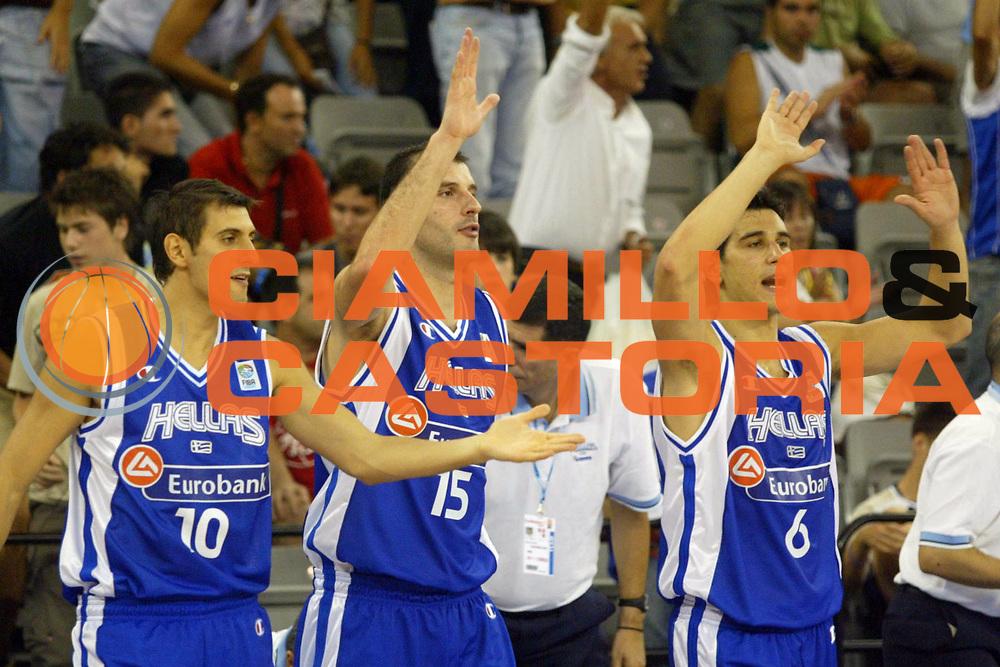 DESCRIZIONE : Granada Spagna Spain Eurobasket Men 2007 Israele Grecia Israel Greece <br /> GIOCATORE : Team Grecia Greece <br /> SQUADRA : Grecia Greece <br /> EVENTO : Eurobasket Men 2007 Campionati Europei Uomini 2007 <br /> GARA : Israele Grecia Israel Greece <br /> DATA : 03/09/2007 <br /> CATEGORIA : Esultanza <br /> SPORT : Pallacanestro <br /> AUTORE : Ciamillo&amp;Castoria/A.Vlachos <br /> Galleria : Eurobasket Men 2007 <br /> Fotonotizia : Granada Spagna Spain Eurobasket Men 2007 Israele Grecia Israel Greece <br /> Predefinita :