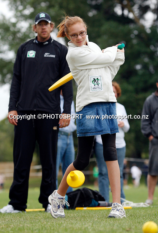 Intermediate batting practice during the National Bank Super Camp, a National Bank initiative to connect with cricket's grass roots. Held at the East Shirley Cricket Club, Christchurch, New Zealand. Thursday, 27 January 2011. Joseph Johnson / PHOTOSPORT.