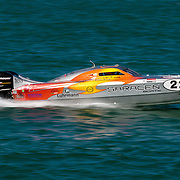 Luhrmann Business Consultants, hits the straight, Outboard Engine Class, Offshore Superboat Championships, Coffs Harbour, New South Wales, Australia