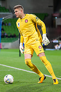 Western Sydney Wanderers goalkeeper Daniel Nizic (1) controls the ball at the FFA Cup quarter-final soccer match between Melbourne City FC and Western Sydney Wanderers FC at AAMI Park in Melbourne.