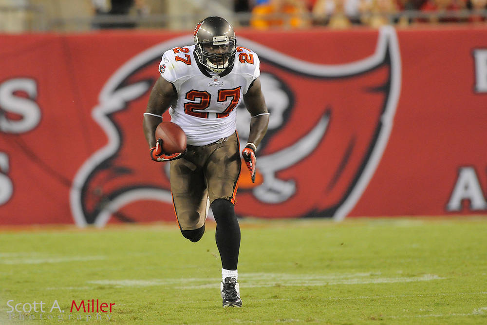 Tampa Bay Buccaneers running back LeGarrette Blount (27) during the Bucs against the Miami Dolphins at Raymond James Stadium on Aug. 27, 2011 in Tampa, Fla...(SPECIAL TO FOX SPORTS.COM/Scott A. Miller)