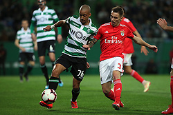 February 3, 2019 - Lisbon, Portugal - Sporting's defender Bruno Gaspar from Portugal (L) vies with Benfica's Spanish defender Alejandro Grimaldo during the Portuguese League football match Sporting CP vs SL Benfica at Alvalade stadium in Lisbon, Portugal on February 3, 2019. (Credit Image: © Pedro Fiuza/NurPhoto via ZUMA Press)