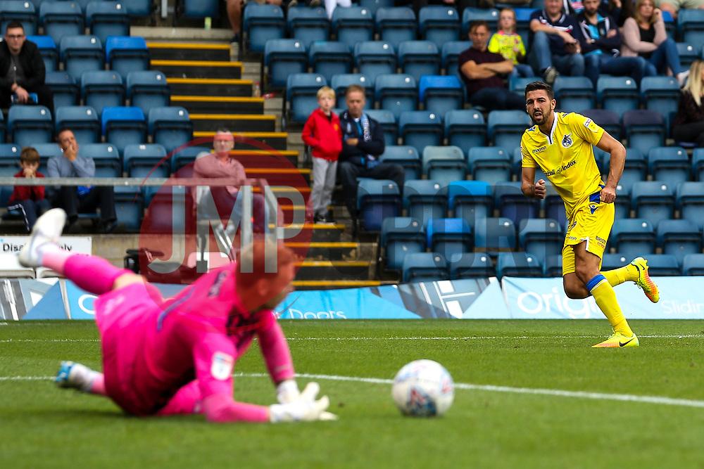 Liam Sercombe of Bristol Rovers has a shot saved by Ryan Allsop of Wycombe Wanderers - Mandatory by-line: Robbie Stephenson/JMP - 18/08/2018 - FOOTBALL - Adam's Park - High Wycombe, England - Wycombe Wanderers v Bristol Rovers - Sky Bet League One