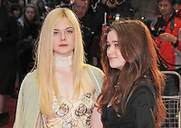 LONDON - OCTOBER 13: Elle Fanning; Alice Englert attended the screening of 'Ginger And Rosa' at the Odeon West End, Leicester Square, London, UK. October 13, 2012. (Photo by Richard Goldschmidt)