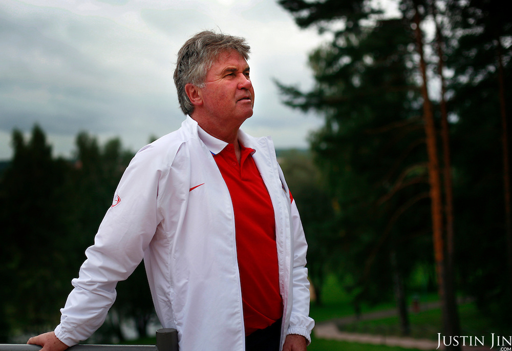 Portrait of Russia's national football team coach Guus Hiddink inside the team's training grounds. Hiddink, originally from the Netherlands, made fame by coaching the South Korean and Australian national teams to great success during successive World Cups.