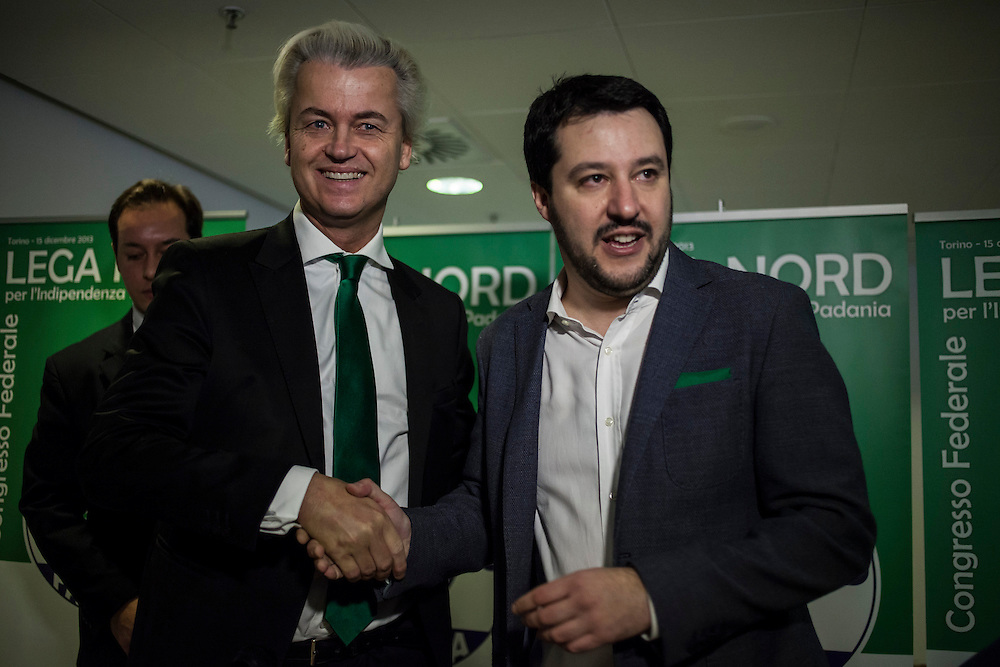 Turin, 2013/12/15. &quot;Lega Nord&quot; Party Federal Congress.<br /> IN THE PICTURE: Matteo Salvini (Lega Nord) and Geert Wilders (PVV, Netherlands)