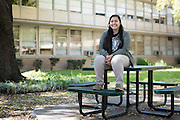 Genesis Morales poses for a portrait at Bryan Adams High School on March 24, 2016 in Dallas, Texas. (Cooper Neill for The Texas Tribune)