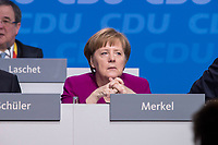 26 FEB 2018, BERLIN/GERMANY:<br /> Angela Merkel, CDU, Bundeskanzlerin, CDU Bundesparteitag, Station Berlin<br /> IMAGE: 20180226-01-015<br /> KEYWORDS: Party Congress, Parteitag